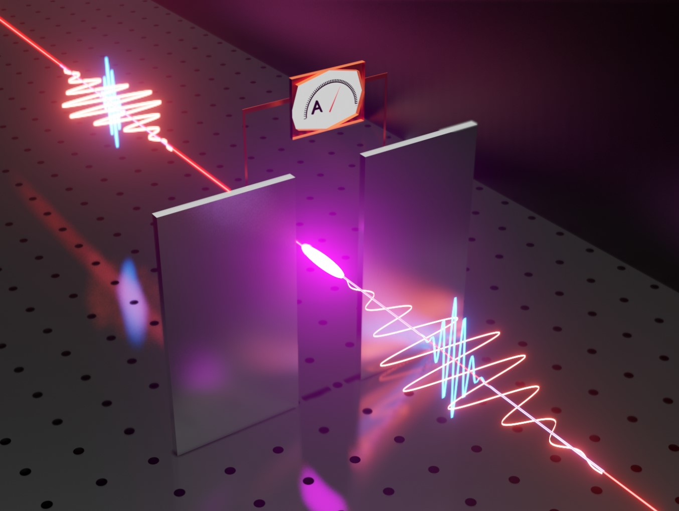 Illustration of the experiment to measure the electromagnetic field of a light wave: the light wave (orange) is overlapped with a gating pulse (blue). Both pulses are focused into the air gap between two metallic electrodes, where they create a plasma spark.